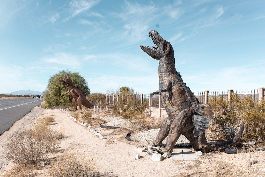 Metal Dinosaurs in Joshua Tree