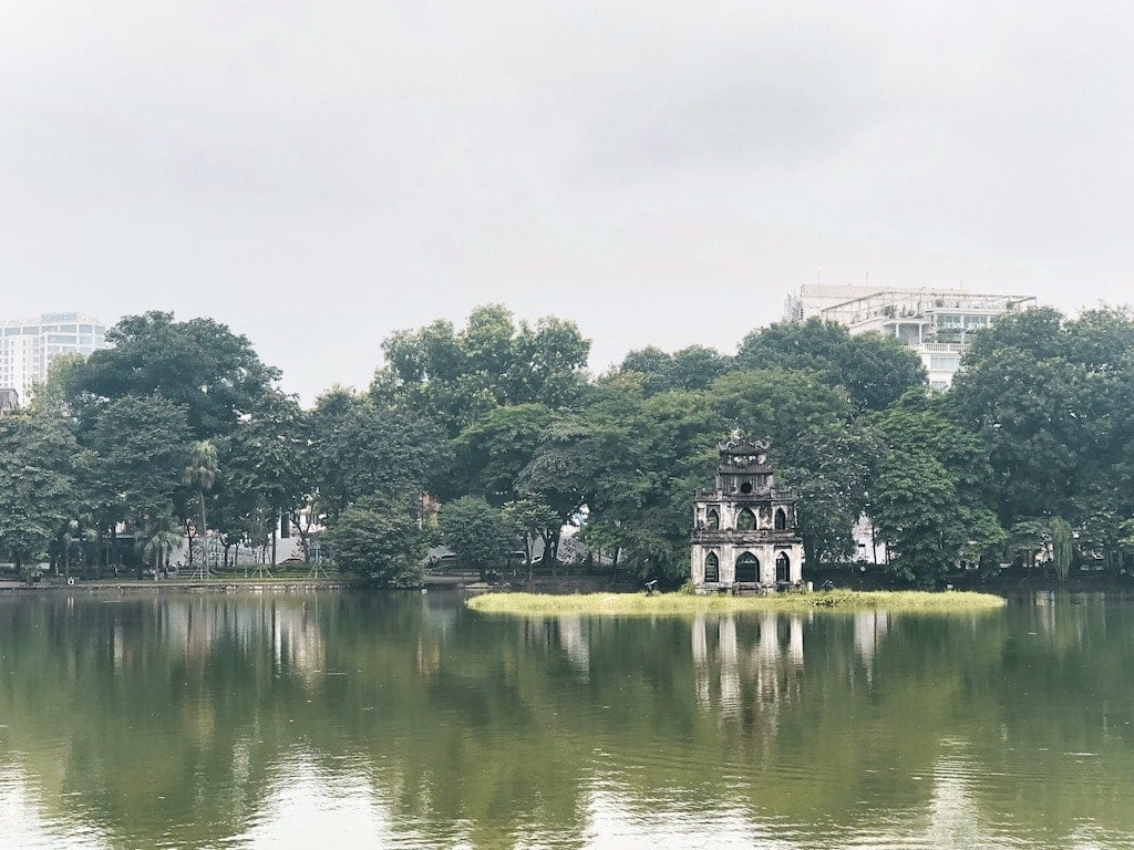 Hoan Kiem Lake in Hanoi Vietnam
