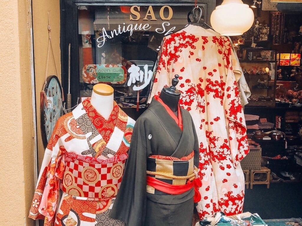 Day trip to Nara, Japan: Vintage kimonos at Sao Antique Shop in the Naramachi area of Nara